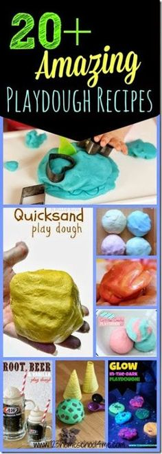 Playdough Recipes - 20  Amazing Play dough Recipes! Here are 20 of the most creative, unique, and FUN kids playdough recipes for play! Great for toddler, preschool, kindergarten and elementary age kids activities. Also great for sensory play.