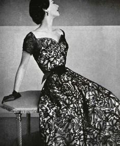 Marcel Rochas pairs Marescot black lace over a pale pink silk for a stiff  dancing dress. Vintage ... d7c023335