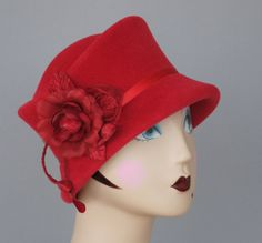 Red Fur Felt Cloche Hat Small Brim Women's by MakowskyMillinery