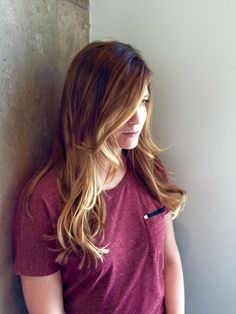 Hand painted balayage by Chrystal May. Red Stella Salon. Soft waves.