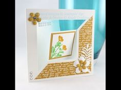 Fancy Fold Flip Card Tutorial using Stampin' Up! Botanical Builder Framelit Dies, A Dozen Thoughts and Wild about Flowers Stamp Sets. From Paula Knall of Kna...