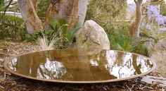 The Extra-Large Spun Copper Dish is designed to be used on the ground as a reflection pool. Of course, it also serves bird life. It is 1.1m wide, 12cm deep and