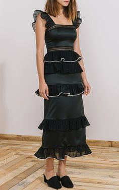 Cece Tiered Straight Dress by ZAYAN THE LABEL for Preorder on Moda Operandi