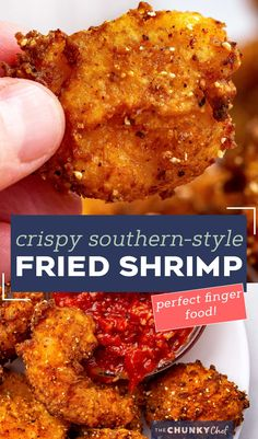 These Southern-Style Fried Shrimp are so juicy and tender, with the crispiest crust. Deep fried in a buttermilk and flour/cornmeal batter, they're perfect with cocktail sauce as an appetizer, or a fun dinner! #shrimp #friedshrimp #popcornshrimp #seafood #southernfood Best Seafood Recipes, Shrimp Recipes, Fish Recipes, Breaded Shrimp, Fried Shrimp, Best Appetizers, Appetizer Recipes, Party Appetizers