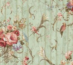 Bird Rose French Cottage Floral Victorian Wallpaper | eBay