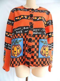 Sport Elle Petite Halloween Sweater Cardigan Trick or Treat Ghost Pumpkin Small #SportElle #Cardigan