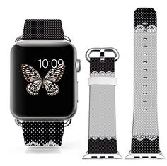 Iwatch Bands 38Mm Series 1 Series 2Apple Watch Strap Genuine Leather Replacement 38Mm Black Small Dots With Lace * Continue to the product at the image link.