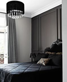 Dark panelled wall injects the space with a classic, moody luxe vibe. Blue Bedroom, Dream Bedroom, Bedroom Wall, Bedroom Decor, Bedroom Ideas, Master Bedroom, Bedroom Inspiration, Bedroom Retreat, Modern Bedroom Design