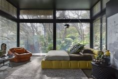 Tagged: Bedroom, Chair, Bed, Floor Lighting, and Night Stands.  Photo 4 of 7 in Unexpected Bursts of Color Enliven a Midcentury Pad in Australia