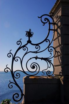 Abstract Wall Art Black Wrought Iron Gate Blue by JLMPHOTOGRAPHS,