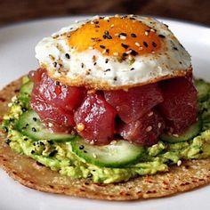 Ahi tuna taco can be made as salad too Rub Ahi Tuna with Trader Joe's tac Tuna Recipes, Seafood Recipes, Asian Recipes, Cooking Recipes, Healthy Recipes, Ahi Tuna Poke, Tuna Tacos, Good Food, Yummy Food