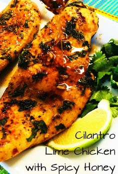 Cilantro Lime Chicken with Spicy Honey - Cooks Well With Others Cilantro Lime Chicken with Spicy Honey has an amazing flavor combo of sweet, sour, and spicy that's so unique and plus this dish is super healthy! Lime Chicken Thighs Recipe, Lime Chicken Recipes, Honey Lime Chicken, Cilantro Chicken, Cilantro Lime Chicken, Shrimp Recipes, Sriracha Chicken, Honey Recipes, Chicken