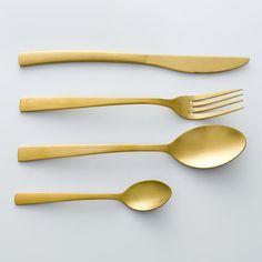 Fourchette en acier inox finition dorée, lot de 4