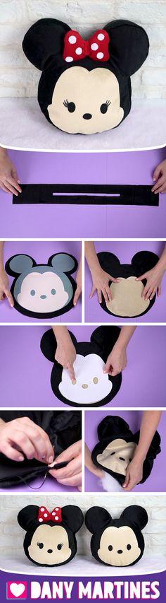 Haz un cojín Kawaii Michey y Minni tú mismo / Disney Diy, Diy And Crafts Sewing, Diy Crafts, Kawaii, Tsum Tsum Party, Panda Craft, Art Worksheets, Sewing Projects For Beginners, Minnie