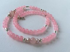 Rose Quartz Freshwater Pearl and Sterling Silver Gem Necklace