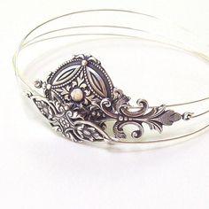 Victorian Bracelet set  Fleur De Lis Bangle by SterlingSimplicity