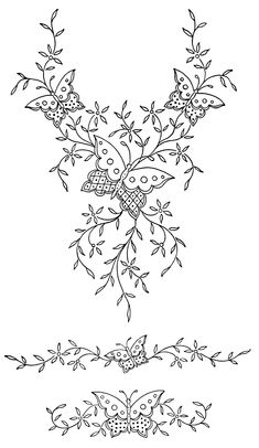 Victorian embroidery pattern, butterfly flower design, ornamental digital graphics, black and white clip art, vintage sewing clipart