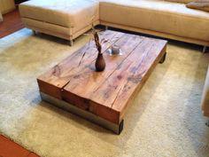 Couchtische - Wohnzimmertisch aus sehr altem Holz und Edelstahl - ein Designerstück von Massiv-holz-tisch bei DaWanda