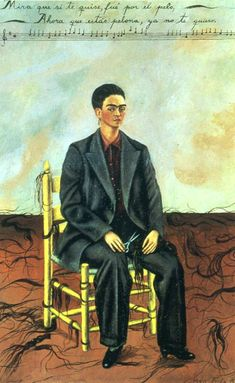 Self portrait with cropped hair - by Frida KahloKahlo and Rivera had a tumultuous relationship, marked by multiple affairs on both sides. Self-Portrait With Cropped Hair (1940), Kahlo is depicted in a man's suit, holding a pair of scissors, with her fallen hair around the chair in which she sits. This represents the times she would cut the hair Rivera loved when he had affairs.