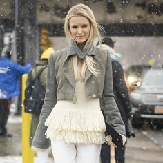 FRINGE is everywhere this fall. RUN. Don't walk to Joanne's or Hancock and get some fringe, and add to old outfits for an updated look.Fringe Trend Fall 2015 | POPSUGAR Fashion