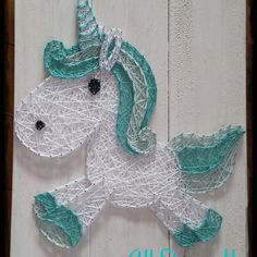 Aqua Unicorn String art all strung up