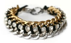 rhinestone and chain bracelet