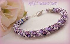 Lavender and Amethyst Swarovski Crystal & Pearl Kumihimo Bracelet w/Sterling Silver Findings, Crystal Bracelets, Pearl Bracelets, Amethyst