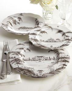 "-3CGQ Juliska  Four Country Estate ""Conservatory"" Dessert Plates"