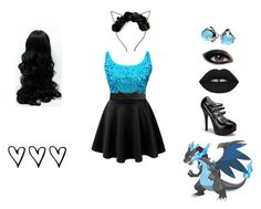 """Mega Charizard"" by kimberly-pera ❤ liked on Polyvore featuring Lowie, Bling Jewelry, Lime Crime and Max Factor"