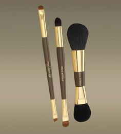 Mini Kittour 3pc Dual Ended Brush Set dual liner/brow brush, small eye shadow brush with blender, brush face / body powder and blush brush by Mini Kittour. $37.99. 6 high-quality brushes in 3! Perfect for travel, this petite brush set takes up less space and is the ideal assortment for all of your cosmetic application needs! Made of high quality goat hair, these brushes are extremely soft and allow the product to adhere to the brush hairs for better application...