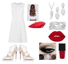 """White & Red"" by melody-marvell ❤ liked on Polyvore featuring Christian Louboutin, Bloomingdale's, M&Co, Lime Crime, Gucci, NA-KD and MANGO"