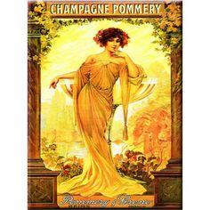 Plaque métal Champagne POMMERY 40 x 30 cm déco rétro vintage