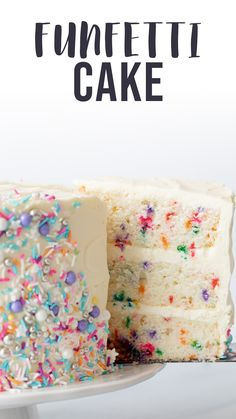 Delicious Cake Recipes, Best Cake Recipes, Yummy Cakes, Sweet Recipes, Easy Birthday Cake Recipes, Confetti Birthday Cake Recipe, Confetti Cake Recipes, Diy Birthday Cake, Confetti Cupcake Recipe From Scratch