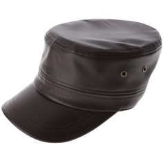 FLATSEVEN Mens Womens Simple Solid Military Cap Faux Leather ($50) ❤ liked on Polyvore featuring men's fashion, men's accessories, men's hats, mens baseball caps, mens military cap, mens military hat, mens caps and mens caps and hats