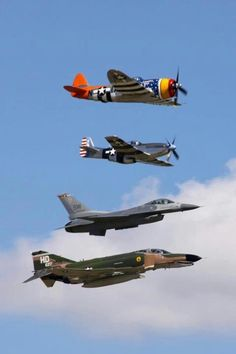 A phantom, a fighting falcon, a mustang, and that has to be a Grumman..........