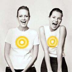 Twiggy and  Kate Moss for the 2000 Fashion Targets Breast Cancer campaign modeling  'Target' T-shirts | Photo PA.