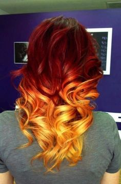 Ombré hair brown to bright red to bright orange GORGEOUS CURLS ERMAHGURD
