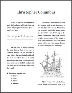 Christopher Columbus Mini-Unit Workbook | This is designed for students in grades 2-4, depending upon individual reading level. This workbook is ten pages in length, and includes work in history/social studies, spelling, handwriting, vocabulary, and reading comprehension. Informational text for Common Core.