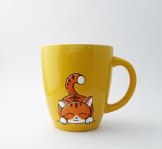 Cat coffee mug available in yellow and lime by vitaminaeu on Etsy, €15.00