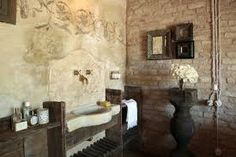 Old mill, Treviso, Italy. Bathroom full of romance.