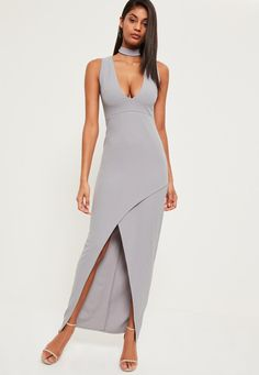 Missguided - Grey Choker Neck Asymmetric Hem Maxi Dress