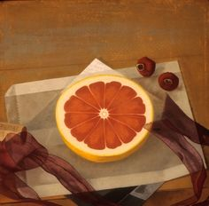'Grapefruit with Ribbon and Dried Rose Hips' (1995) by American painter Susan Jane Walp (b.1948). Oil on linen, 8 x 8 in. via the artist's site