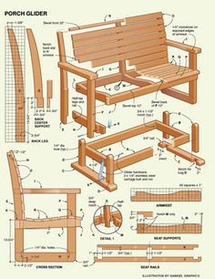 We have shared a Porch Glider Plan in the past, but a variation on the theme is always in order. Everyone has a slightly different aesthetic and, even though the methods are essentially the same, seeing a design that suits your style is much more likely t Pallet Furniture, Furniture Projects, Furniture Plans, White Furniture, Diy Wood Projects, Home Projects, Wood Crafts, Porch Glider Plans, Wood Plans