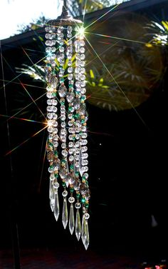 Items similar to Elegant Victorian spiral crystal windchime suncatcher with antique brass top and hanging loop is fully loaded with genuine faceted crystals on Etsy Crystal Wind Chimes, Diy Wind Chimes, Mobiles, Hanging Crystals, Wind Spinners, Stained Glass Art, Garden Crafts, Beads And Wire, Wire Art