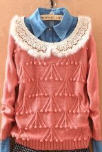 Pink Fur Lapel Plush Ball Embroidery Sweater $39.68  #SheInside #hipster #love #cute #fashion #style #vintage #repin #follow
