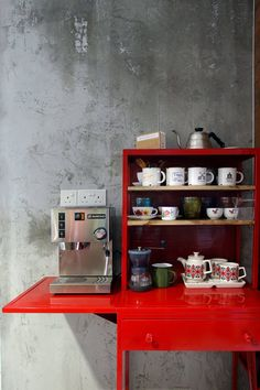 An Industrial and Eclectic Look for a HDB Flat by Green And Lush Corner Bar, Coffee Corner, Renovation Budget, Concrete Wall, Liquor Cabinet, Lush, Kitchen Appliances, Kitchens, Industrial