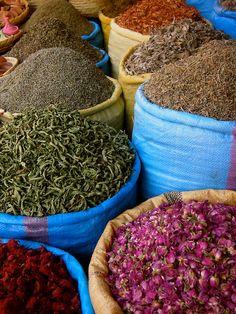 Spices & rose petals  Morocco market..