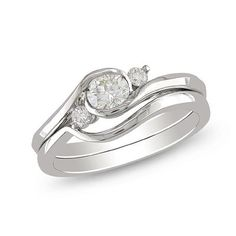 1/2 CT. T.W. Diamond Three Stone Bridal Set in 10K White Gold - View All Rings - Zales