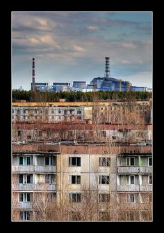 Reactor 4 viewed from the Hotel Polissya, Pripyat.