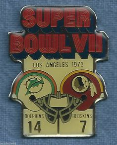 SUPER BOWL VII PIN COCA COLA MIAMI DOLPHINS REDSKINS